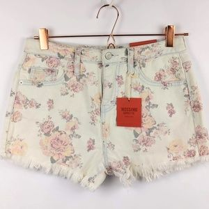 Mossimo Sz 4 Floral Frayed Denim Shorts